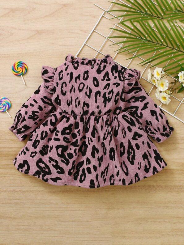 Corduroy Leopard Print Baby Girl Dress 8