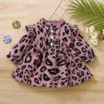 Corduroy Leopard Print Baby Girl Dress 4