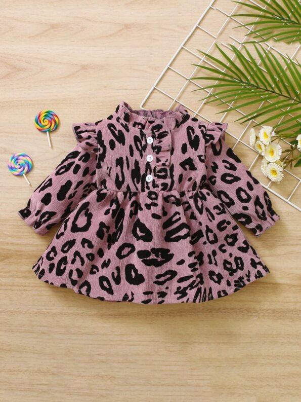 Corduroy Leopard Print Baby Girl Dress 9