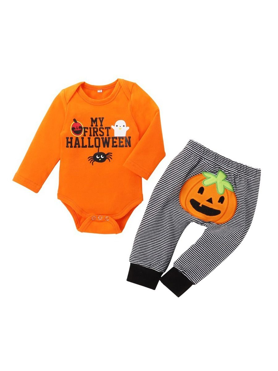 Two Pieces Halloween Scary Night Print Toddler Boys Sets Hooded Sweatshirt And Sweatpants BABIES Girls