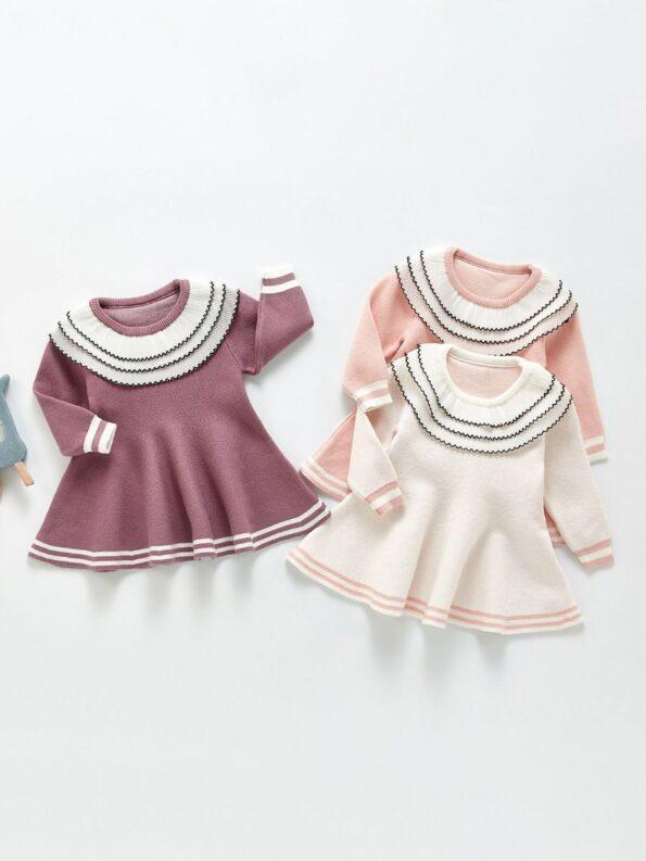Frilled Layered-Collar Baby Girl Dress 10