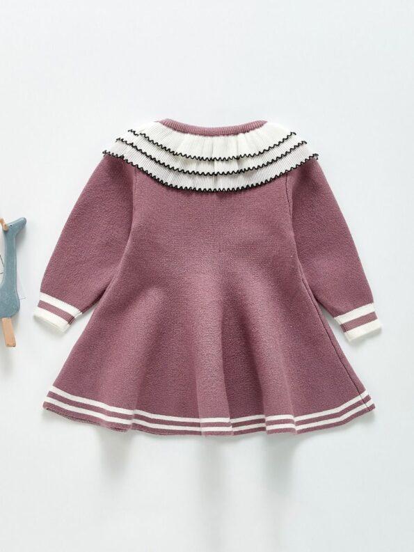 Frilled Layered-Collar Baby Girl Dress 12