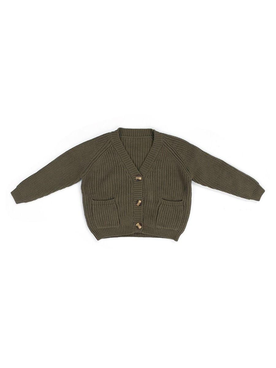 Toddler Round Neck Pocket Decor Kintted Sweater GIRLS Girls