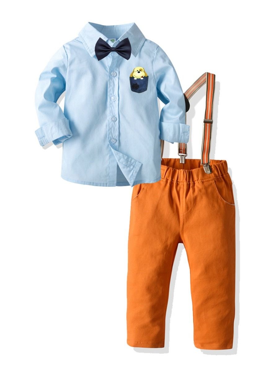Boys Sets Bowtie Striped Shirt With Sunglass Decor Trousers  Wholesale BOYS Boys