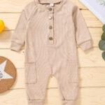 Solid Color Button Trim Fall Baby Jumpsuit  Wholesale 6
