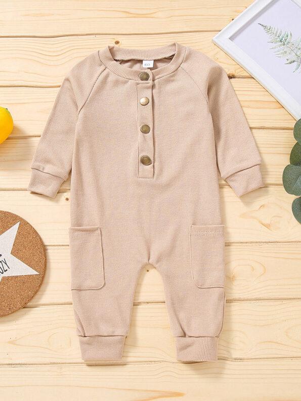 Solid Color Button Trim Fall Baby Jumpsuit  Wholesale 12