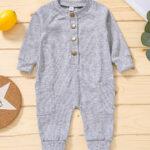 Solid Color Button Trim Fall Baby Jumpsuit  Wholesale 4