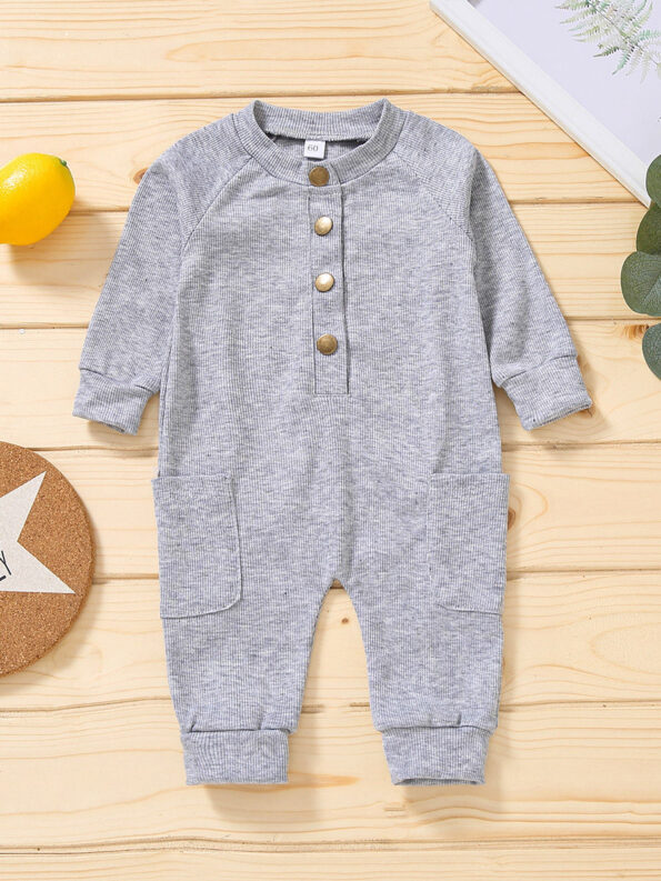 Solid Color Button Trim Fall Baby Jumpsuit  Wholesale 10