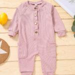 Solid Color Button Trim Fall Baby Jumpsuit  Wholesale 3