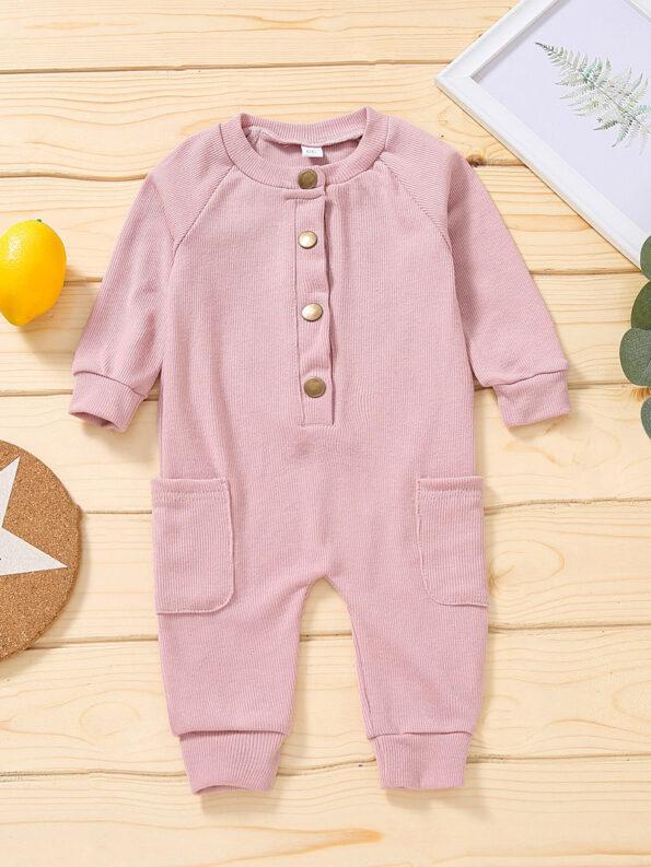 Solid Color Button Trim Fall Baby Jumpsuit  Wholesale 9