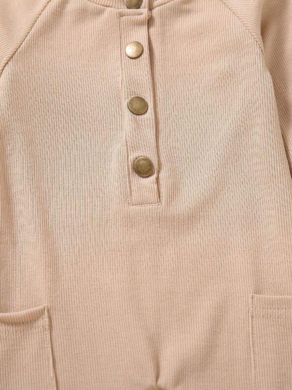Solid Color Button Trim Fall Baby Jumpsuit  Wholesale 14