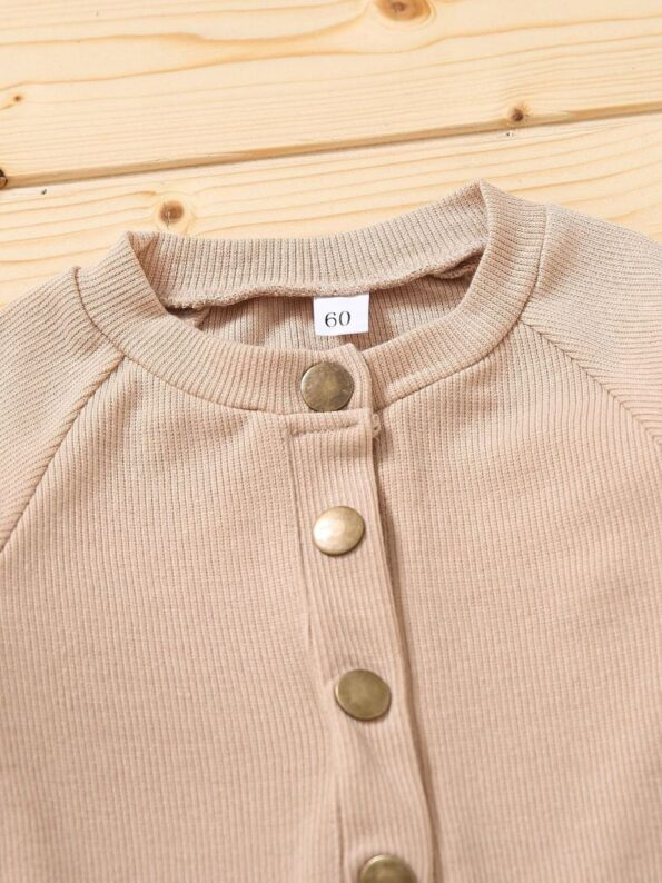 Solid Color Button Trim Fall Baby Jumpsuit  Wholesale 13