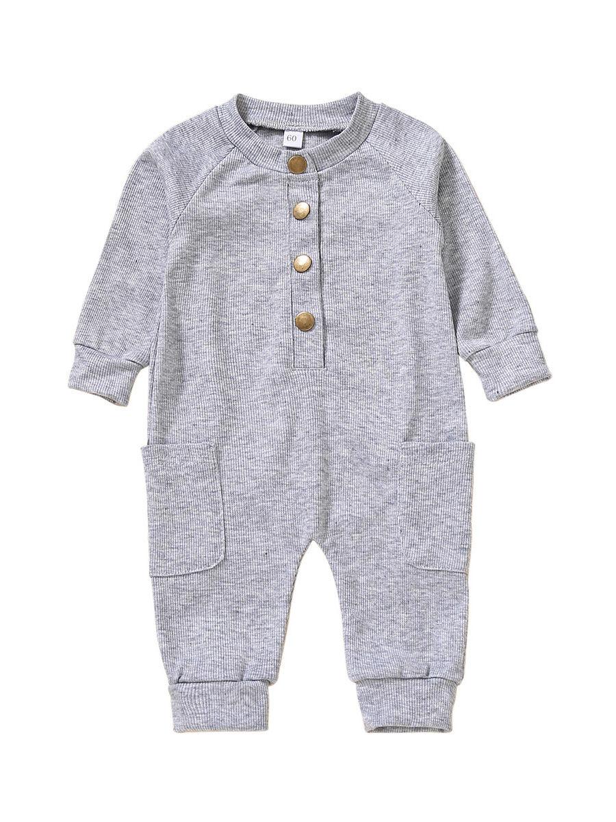 Solid Color Button Trim Fall Baby Jumpsuit  Wholesale 2
