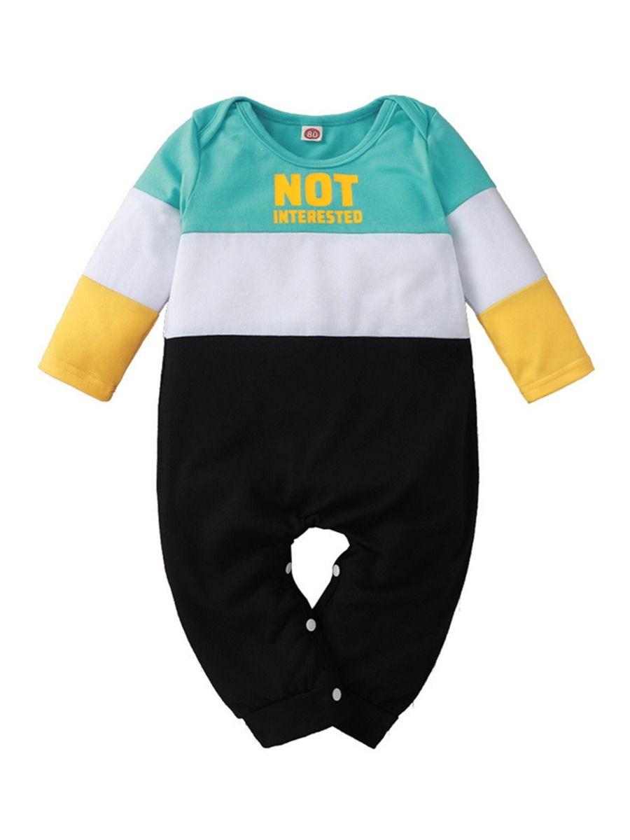 Color Blocking Letter Print Baby Boy Jumpsuit 2
