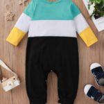 Color Blocking Letter Print Baby Boy Jumpsuit 3
