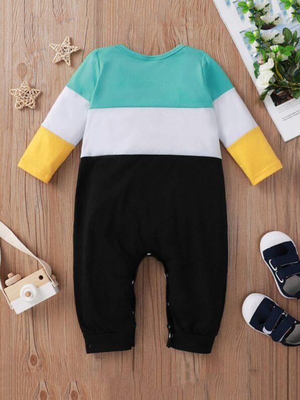 Color Blocking Letter Print Baby Boy Jumpsuit 8