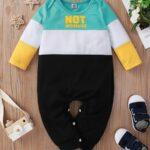 Color Blocking Letter Print Baby Boy Jumpsuit 4