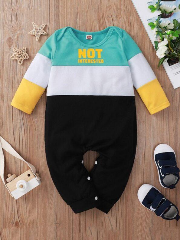 Color Blocking Letter Print Baby Boy Jumpsuit 9