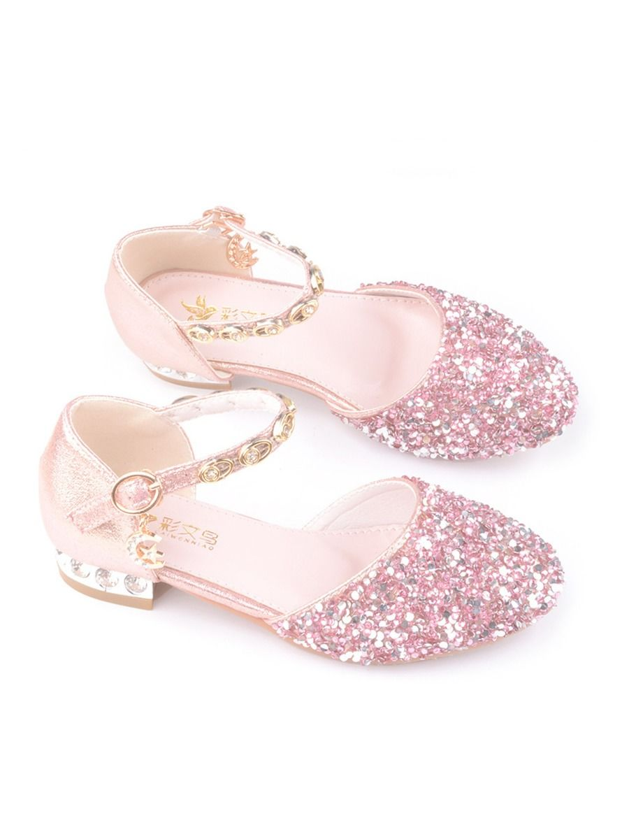 Kid Girl Gold chain Rhinestone Shoes  Wholesale 2