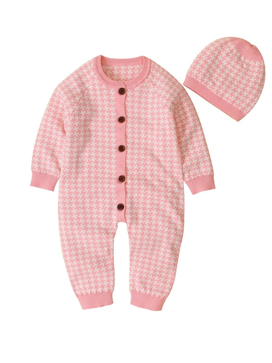 Houndstooth Baby Knitted Jumpsuit  Wholesale
