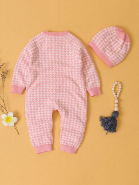 Houndstooth Baby Knitted Jumpsuit  Wholesale 2