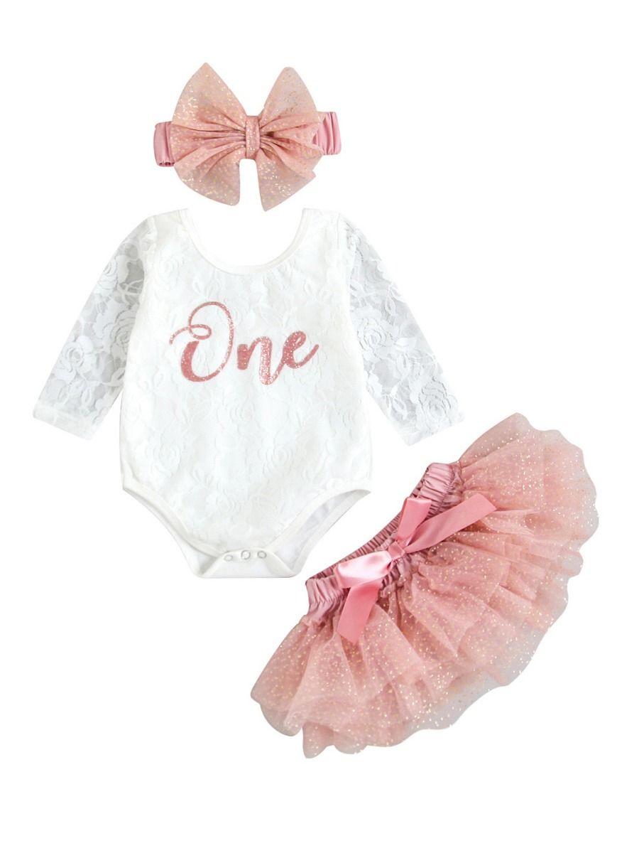 Three Pieces Baby Girl Clothing Sets One Lace Bodysuit Tutu Skirt Headband 2