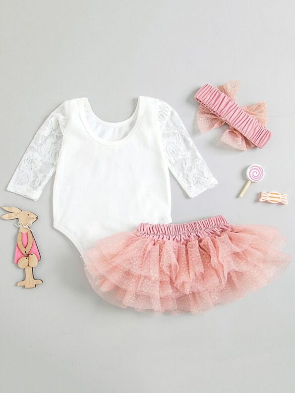 Three Pieces Baby Girl Clothing Sets One Lace Bodysuit Tutu Skirt Headband 9