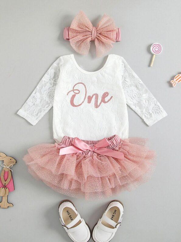 Three Pieces Baby Girl Clothing Sets One Lace Bodysuit Tutu Skirt Headband 10