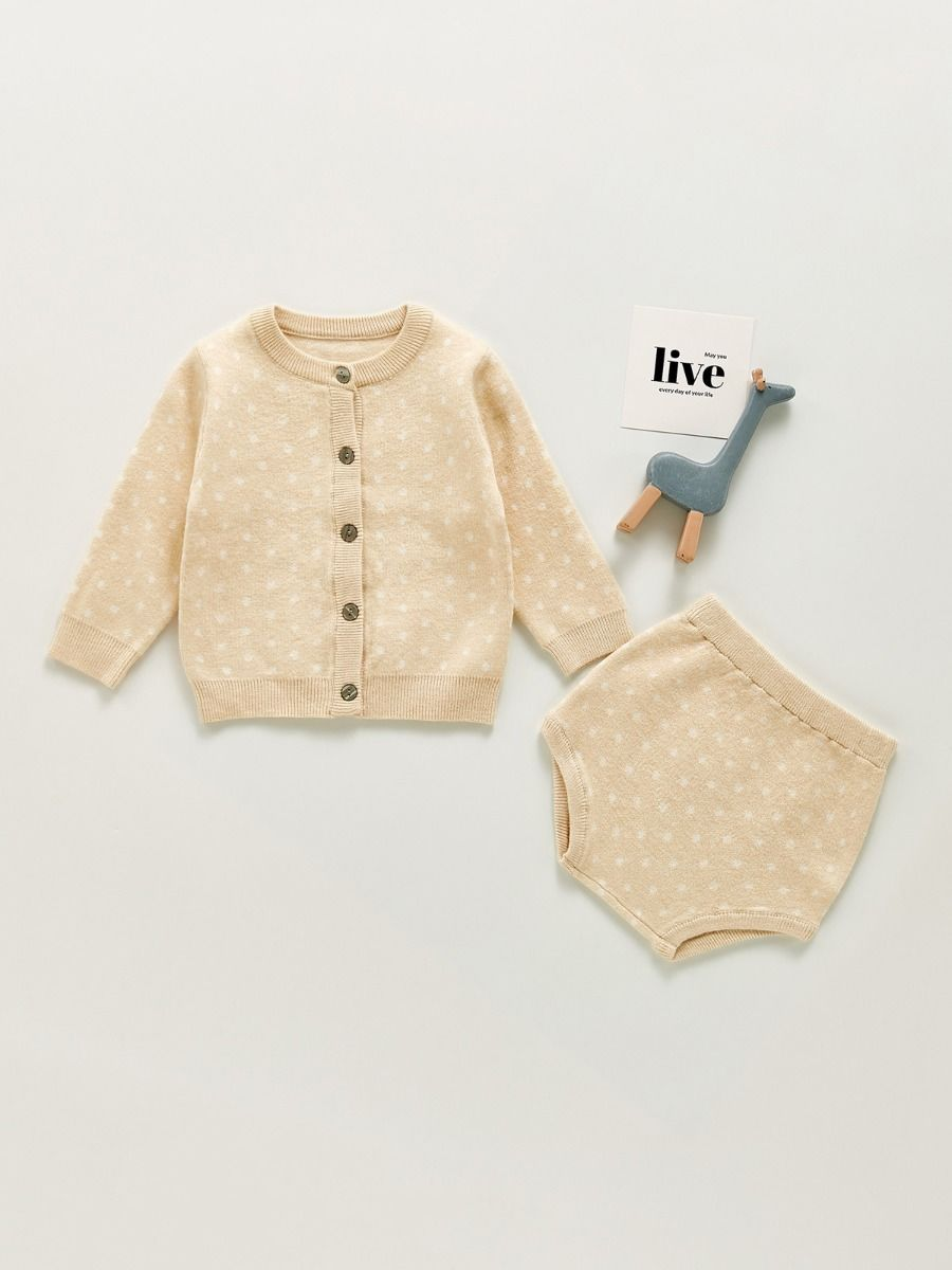 Two Pieces Polka Dots Baby Girls Outfits Sets Cardigan And Shorts 2