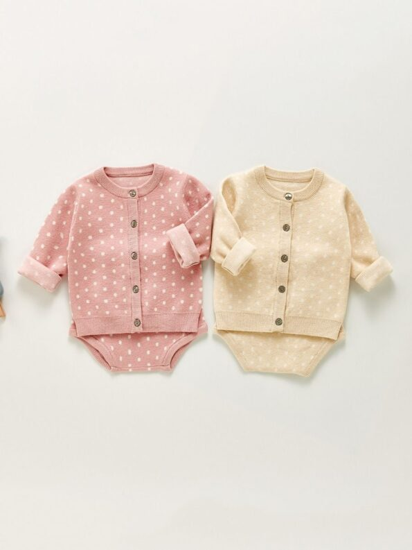 Two Pieces Polka Dots Baby Girls Outfits Sets Cardigan And Shorts 9