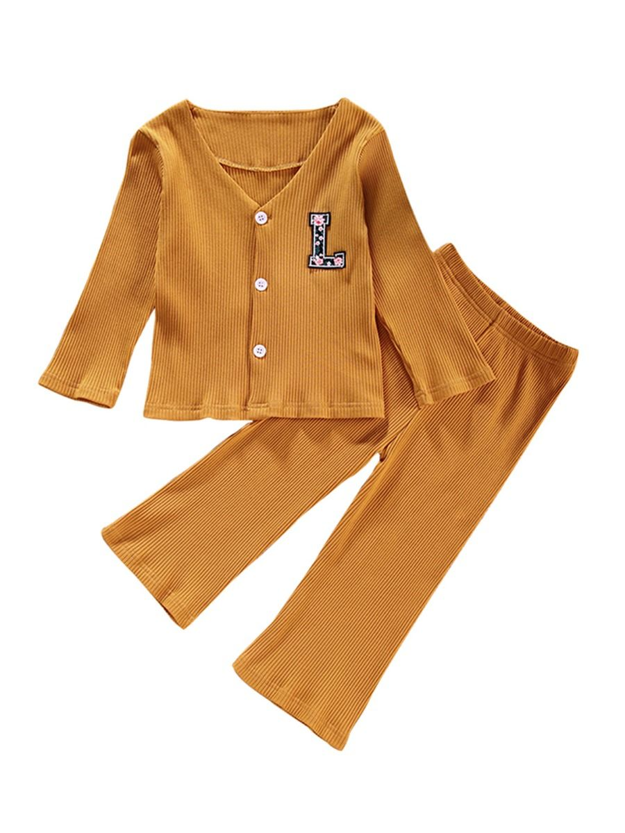 Two Pieces Ribbed Girls Sets Cardigan And Pants  Wholesale 2