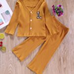 Two Pieces Ribbed Girls Sets Cardigan And Pants  Wholesale 4