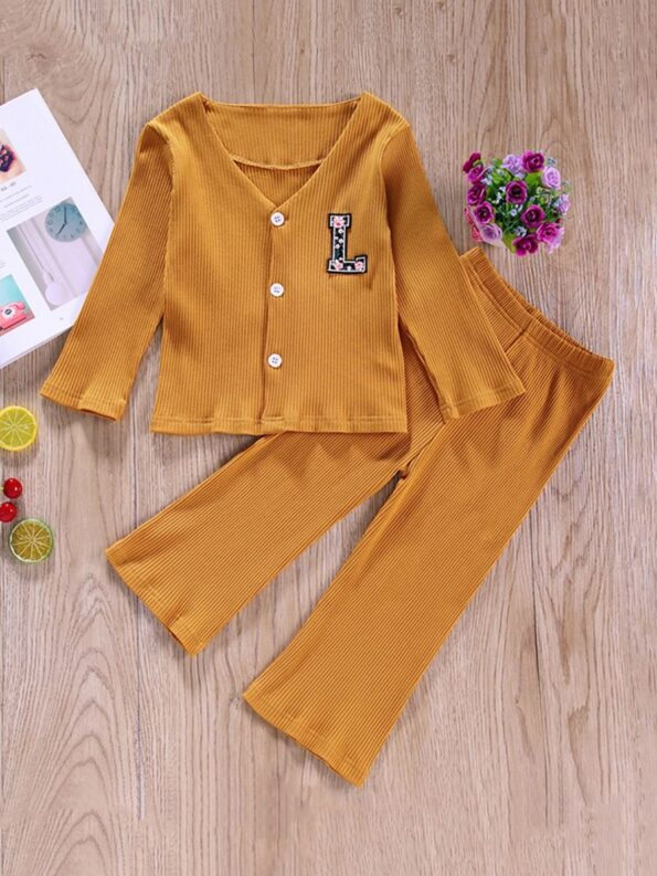 Two Pieces Ribbed Girls Sets Cardigan And Pants  Wholesale 10