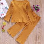 Two Pieces Ribbed Girls Sets Cardigan And Pants  Wholesale 3
