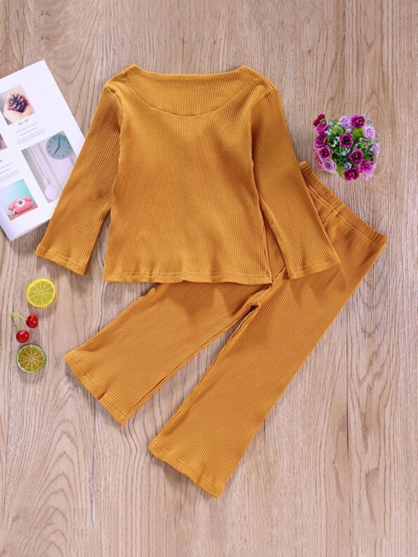 Two Pieces Ribbed Girls Sets Cardigan And Pants  Wholesale 9