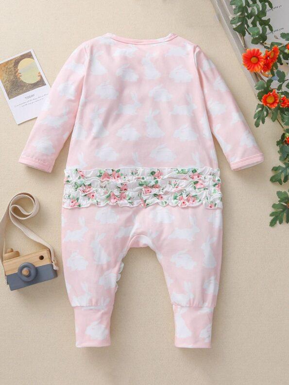 Ruffle Trim Rabbit Print Zip Up Baby jumpsuit Wholesale Baby Clothing  Wholesale 8