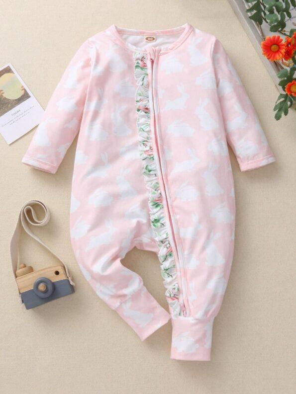 Ruffle Trim Rabbit Print Zip Up Baby jumpsuit Wholesale Baby Clothing  Wholesale 9