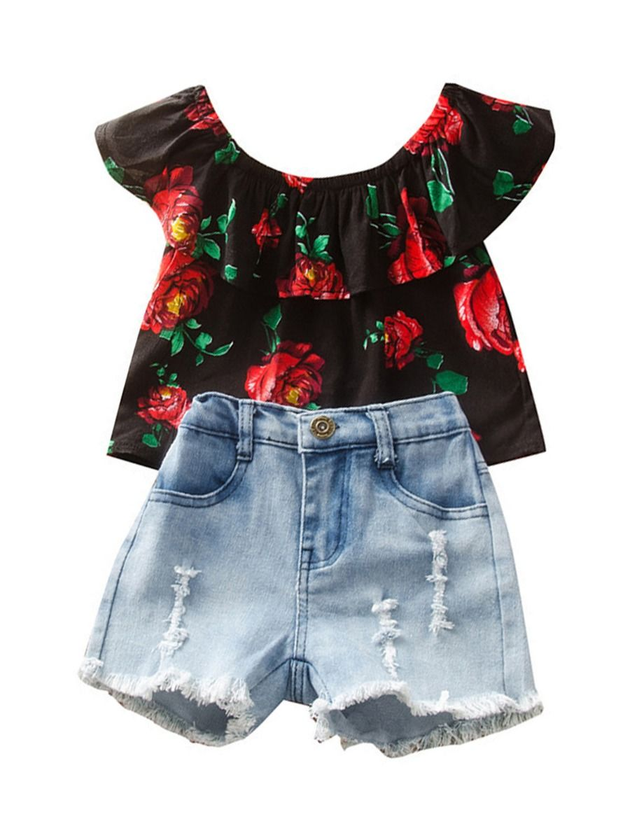 Two Pieces Girls Sets Flower Print Off Shoulder Top And Denim Shorts 2