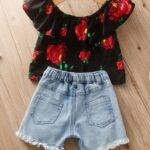 Two Pieces Girls Sets Flower Print Off Shoulder Top And Denim Shorts 3