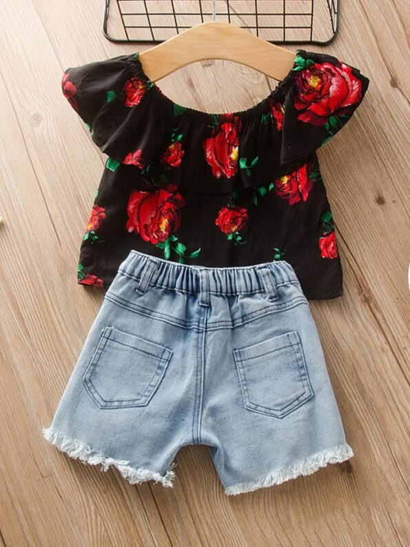 Two Pieces Girls Sets Flower Print Off Shoulder Top And Denim Shorts 8