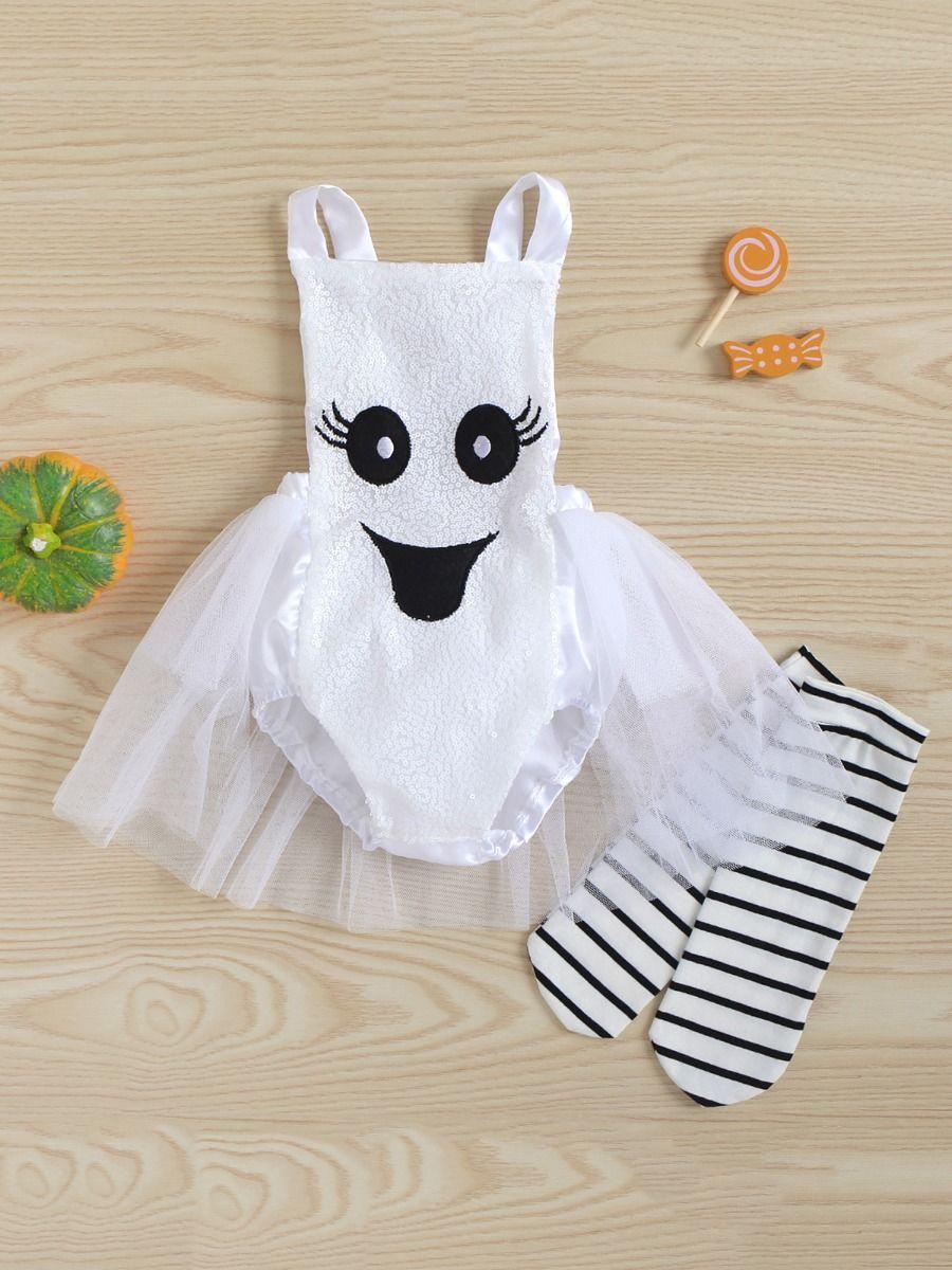 Pumpkin Mesh Suspender Wholesale Baby Onesies Baby Girl Halloween Costumes 2