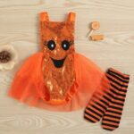 Pumpkin Mesh Suspender Wholesale Baby Onesies Baby Girl Halloween Costumes 4
