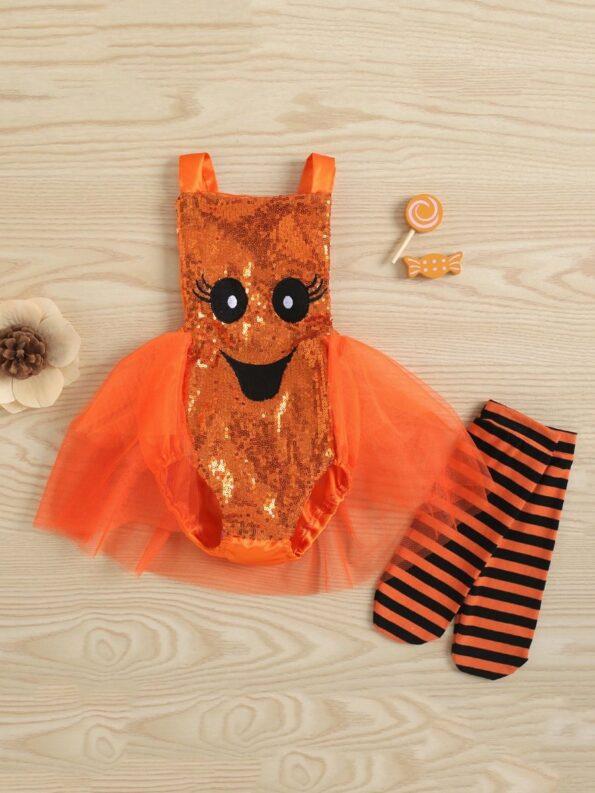 Pumpkin Mesh Suspender Wholesale Baby Onesies Baby Girl Halloween Costumes 11