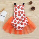 Pumpkin Mesh Suspender Wholesale Baby Onesies Baby Girl Halloween Costumes 3