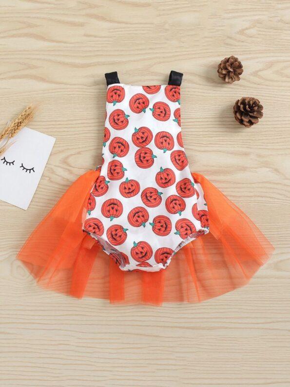 Pumpkin Mesh Suspender Wholesale Baby Onesies Baby Girl Halloween Costumes 10