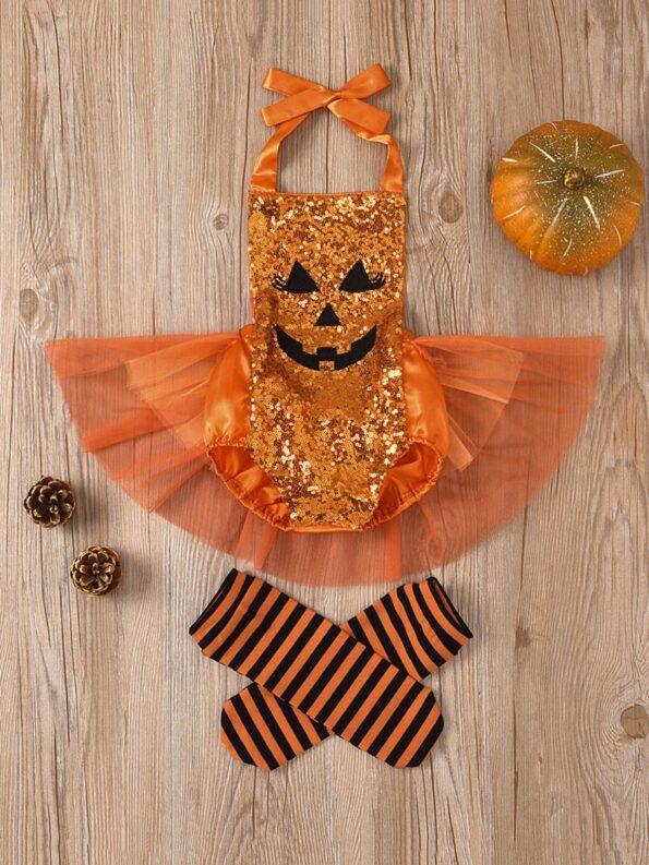 Pumpkin Mesh Suspender Wholesale Baby Onesies Baby Girl Halloween Costumes 12