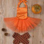 Pumpkin Mesh Suspender Wholesale Baby Onesies Baby Girl Halloween Costumes 6