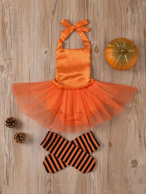 Pumpkin Mesh Suspender Wholesale Baby Onesies Baby Girl Halloween Costumes 13