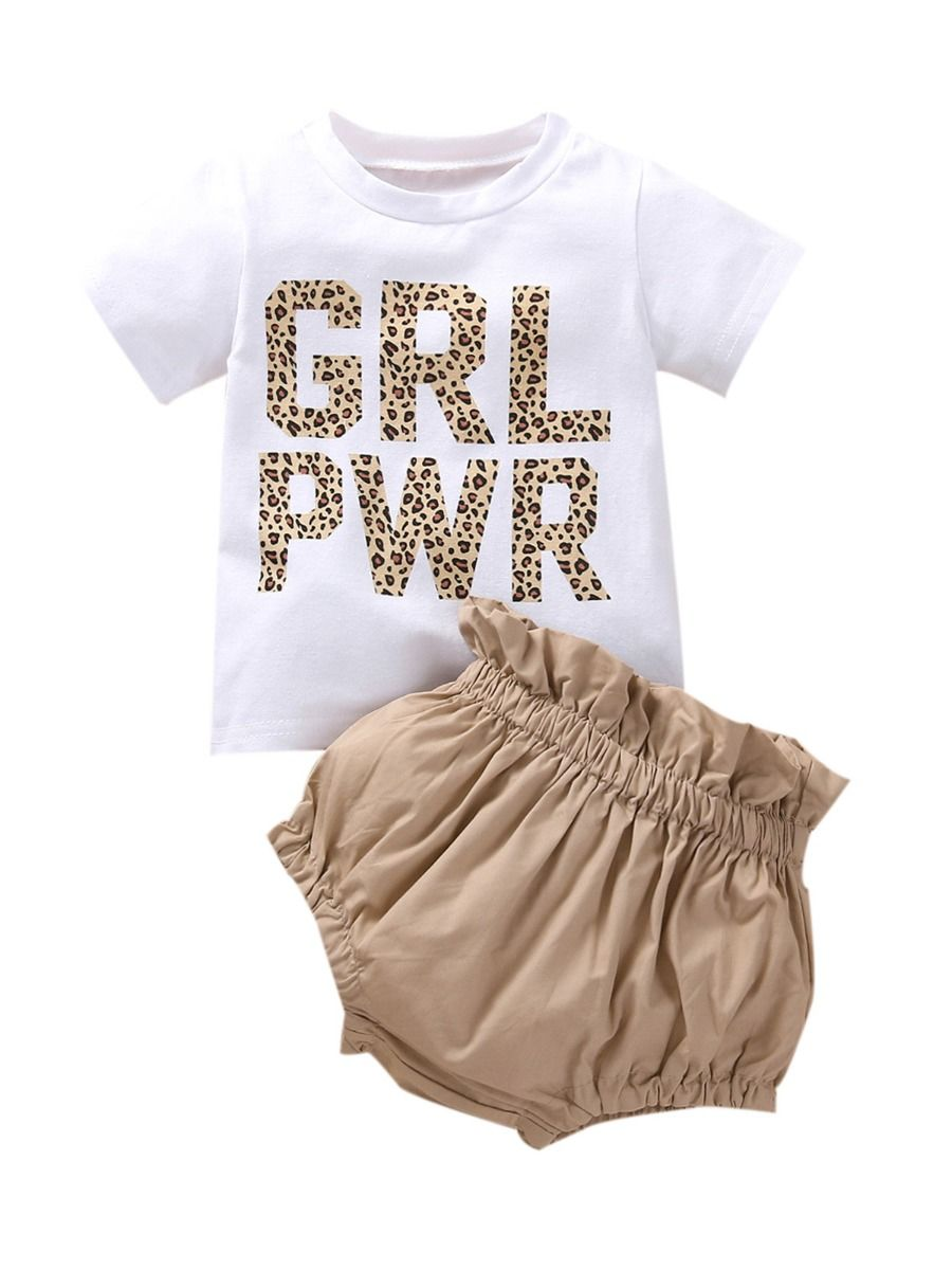 Two Pieces Girls Sets High Low Hem Top And Fruit Print Shorts GIRLS Girls
