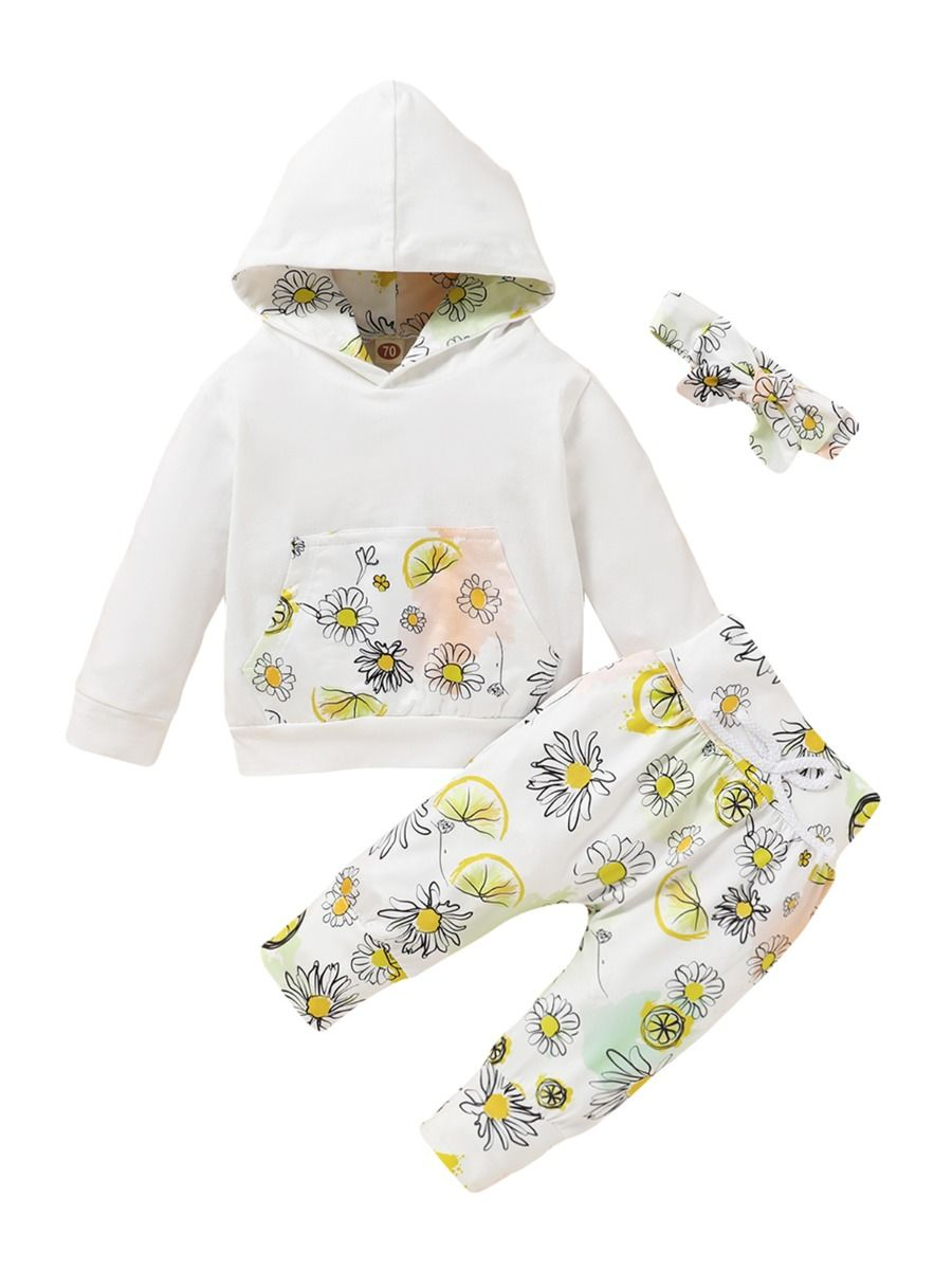 Three Pieces Flower Print Baby Girl Tracksuit Set Hoodie Headband And Sweatpants 2